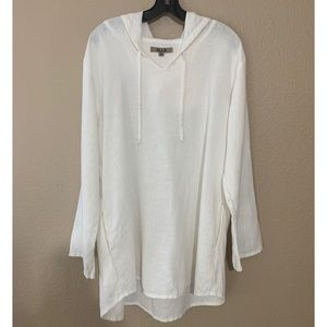Flax white linen hoodie with pockets
